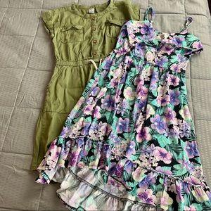 Carters Green Dress & Floral Sun Dress Sz 7